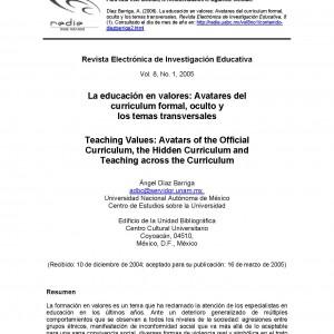 La educación en valores: avatares del currículum formal, oculto y los temas transversales