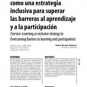 El aprendizaje-servicio como una estrategia inclusiva para superar las barreras al aprendizaje y la participación