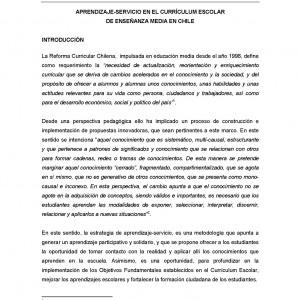 Aprendizaje-Servicio en el currículum escolar de enseñanza media en Chile