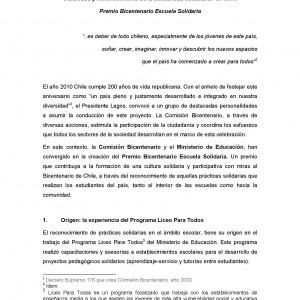 Visibilidad y reconocimiento de la solidaridad estudiantil en Chile. Premio Bicentenario Escuela Solidaria