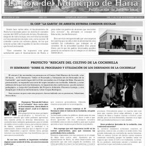 La hoja del Municipio de Haría. Proyecto rescate del cultivo de la Cochinilla