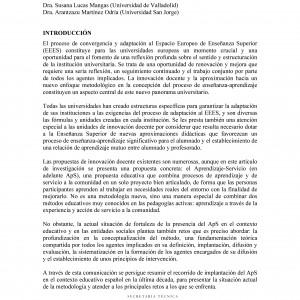 La implantación y difusión del Aprendizaje-Servicio en el contexto educativo español.