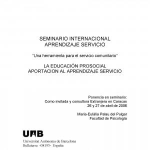 Seminario internacional de aprendizaje y servicio. Una herramienta para el servicio comunitario.