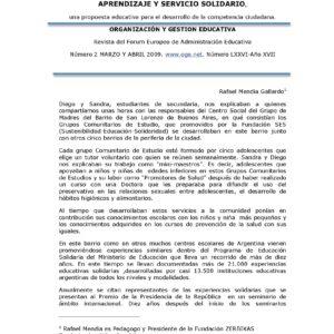Aprendizaje y servicio Solidario, una propuesta educativa para el desarrollo de la competencia ciudadana.