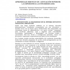 Aprendizaje Servicio en Educación Superior. La experiencia latinoamericana