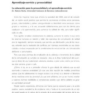 Aprendizaje-serviio y prosocialidad. La educación para la prosocialidad y el aprendizaje-servicio