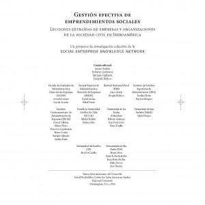 Gestión efectiva de emprendimientos sociales. Lecciones extraidas de empresas y organizaciones de la sociedad civil en Iberoamérica